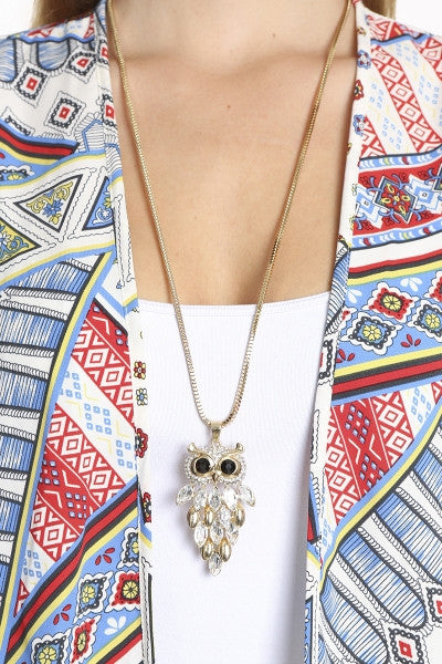 Crystal Hanging Owl Pendant Necklace-2