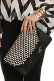 Crystal Studded Foldover Clutch Black-2