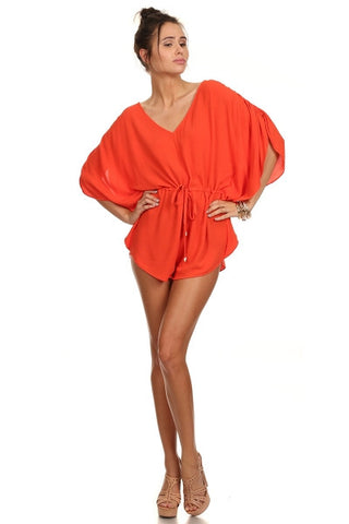 Coral Woven V Neck Romper with Tie-1