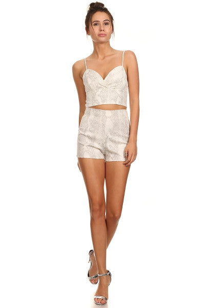 Python Print Shorts and Cropped Top Set-1