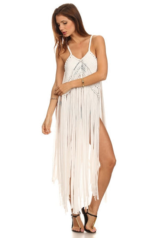 Macrame Fringe Beach Coverup Dress-1