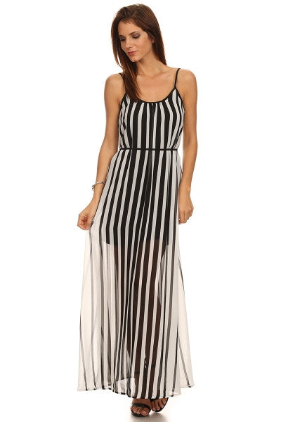 Vertical Striped Maxi Dress-1