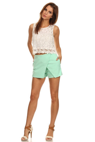 Mint Asymmetric Shorts-1