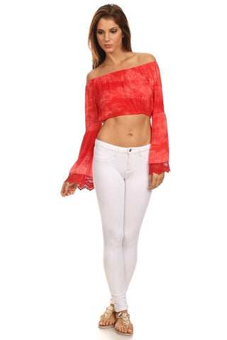 Tie Dye Off the Shoulder Cropped Top-1