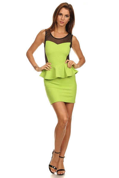 Neon Peplum Dress with Mesh Panels-1