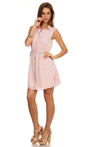 Candy Pinstripe Shirt Dress-1