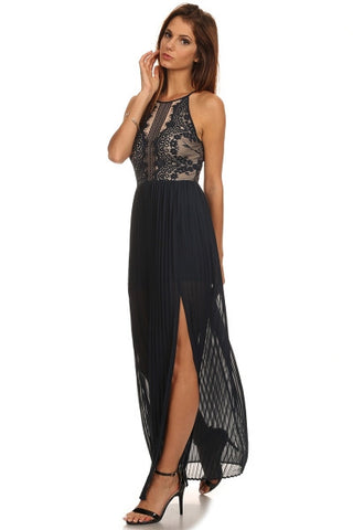 Lace Pleated Maxi Dress-1