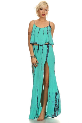 Tie Dye Crop Top and Maxi Skirt Set-2