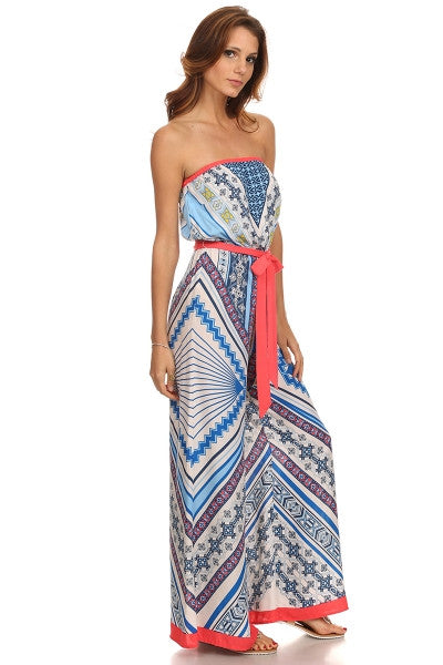 Tribal Print Tube Wide Leg Jumpsuit-1