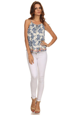 Floral Sketch Print Embroidered Hem Top-1