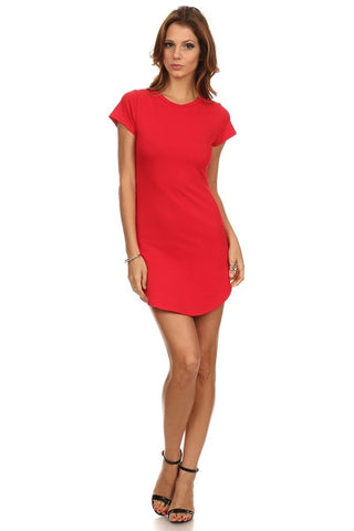 Solid Basic Short Sleeve Dress-1