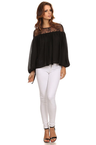 Peasant Blouse with Lace Yoke-1