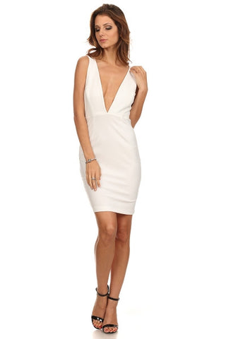 Deep V Dress with Zipper Back-1