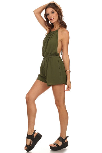 Open Back Halter Romper-1