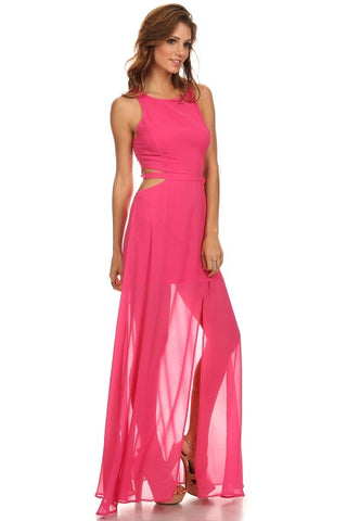 Chiffon Maxi Dress with Cut Out Sides-1