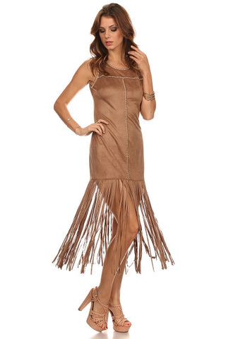 Faux Suede Fringed Hem Dress-1