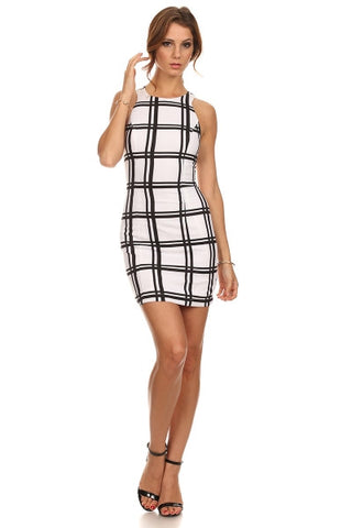 Plaid Print Racerback Dress-1