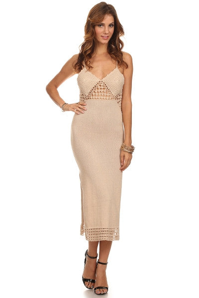 Crochet Knit Midi Dress-2