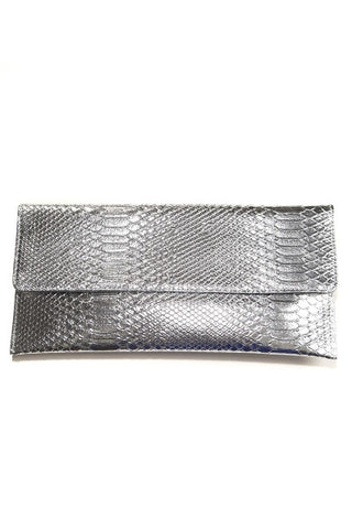 Shiny Silver Snakeskin Clutch Bag