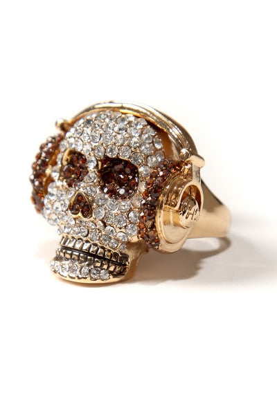 Musical Skull Rhinestone Ring
