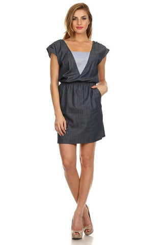 Nautical Denim Contrast Ladder Back Dress-1