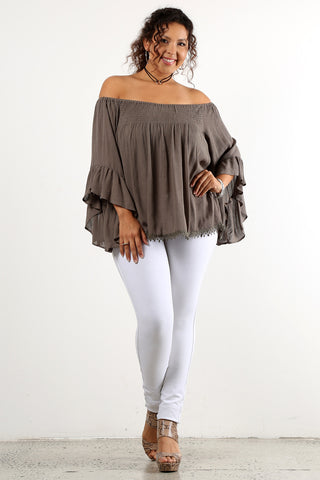 Myrna - Plus Size Off Shoulder Smocked Top