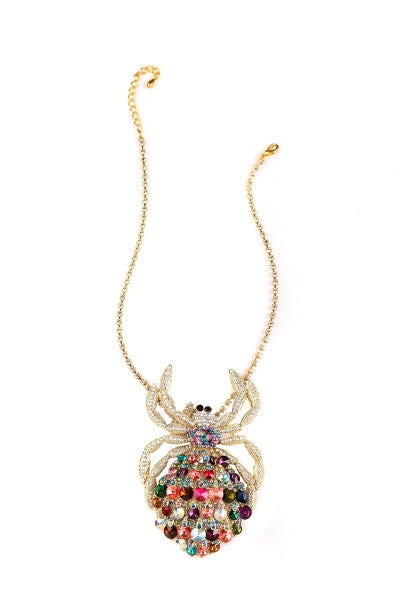 Rainbow Crystal Spider Necklace-1