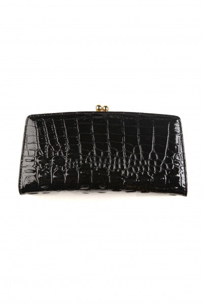 Snakeskin Embossed Clutch Wallet Black