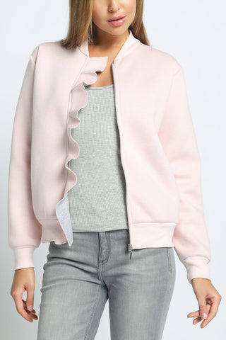 Amy - Bonded Scuba Ruffled Zipper Bomber Jacket