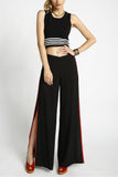 Viper - Side Slit Contrasted Striped Open Leg Pants