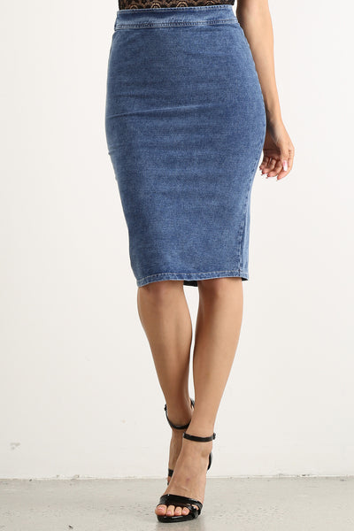 Denim Jean High Waist Pencil Skirt-2