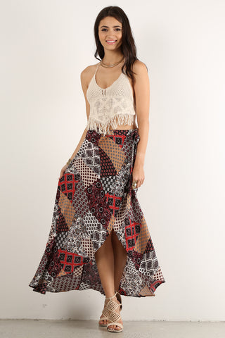 Roberta - Patch Print Maxi Wrap Skirt