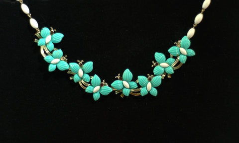 Vintage 1950s Teal Butterfly Necklace with Faux Ruby Eyes