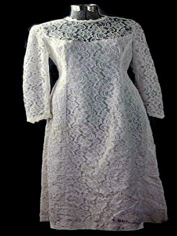 Audrey Lace Dream White Wedding Gown Vintage 1960