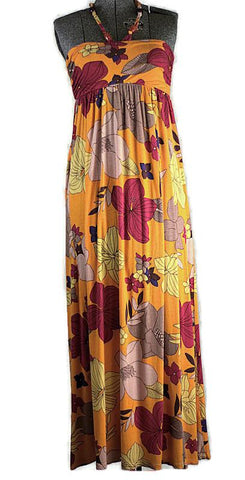 Vintage 1970 Hibiscus Maxi Knit Dress Just In - ROBINS HERITAGE USA Vintage