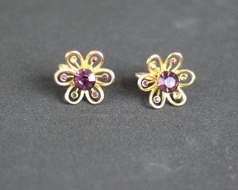 Rhinestone Lavender Flowers Vintage 1950s Earrings - ROBINS HERITAGE USA Vintage - 1