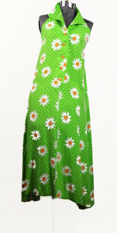 Green Apple and Daisy Vintage Sun Dress, 1970's Style