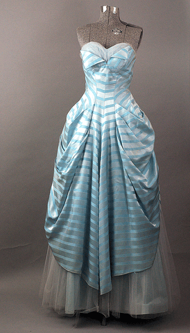 Strapless Candy Stripe Vintage 1950s Ball Gown - ROBINS HERITAGE USA Vintage