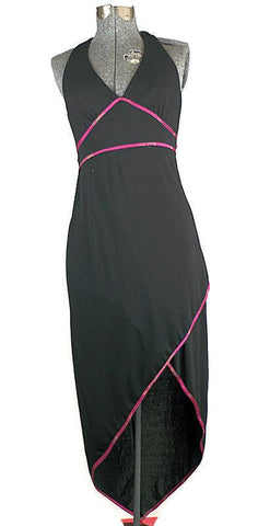 Retro LIttle Black Halter Dress with Pink Detail Just In - ROBINS HERITAGE USA Vintage