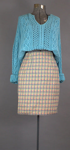 Collegiate Preppy Plaid Vintage Denim Skirt. 1980 Paul Harris Vintage Denim Skirt - ROBINS HERITAGE USA Vintage - 1