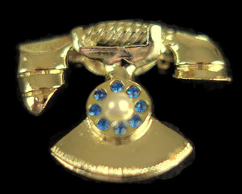 Retro Rotary Telephone Vintage Brooch Costume Jewelry, Just In - ROBINS HERITAGE USA Vintage
