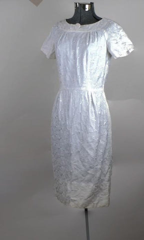 Vintage 1950's White Brocade Sheath Dress - ROBINS HERITAGE USA Vintage