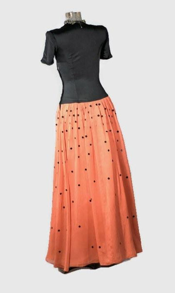 1930 Film Noir Coral Vintage Prom Dress