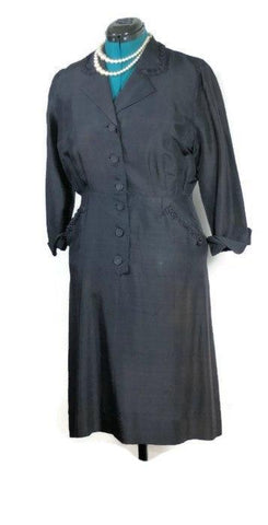 Sara's Vintage WWII ERA Navy Silk Dress - ROBINS HERITAGE USA Vintage