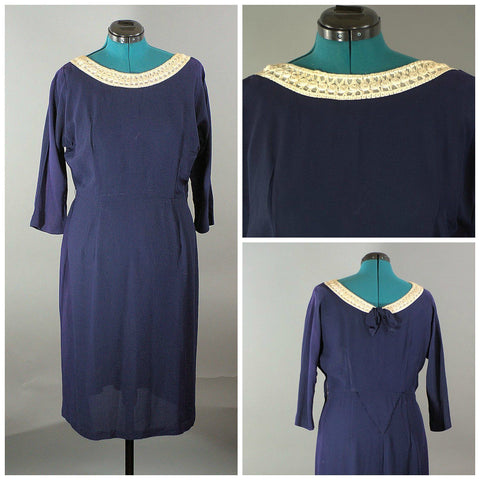 1950 Navy Dress RiteFit, Vintage Plus Size - ROBINS HERITAGE USA Vintage - 1