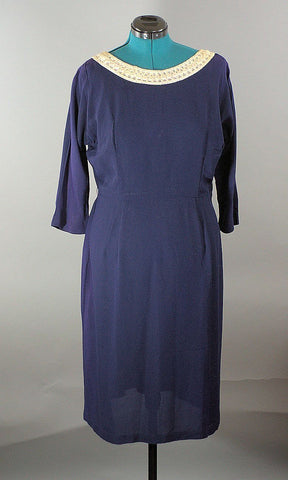 1950 Navy Dress RiteFit, Vintage Plus Size - ROBINS HERITAGE USA Vintage - 2
