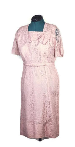 1950 Pink Lace, MyNette Vintage Cocktail Dress, Plus Size - ROBINS HERITAGE USA Vintage