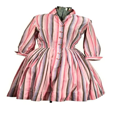 1950 Pink Rockabilly Shirtwaist Vintage Cotton Dress, Just In - ROBINS HERITAGE USA Vintage