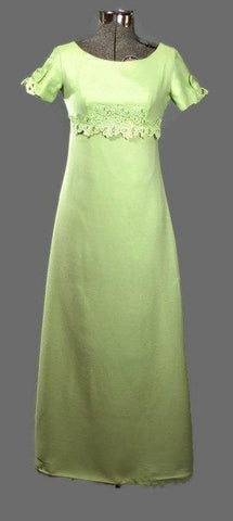 1960 Green Apple Regency Vintage Formal Maxi Dress - ROBINS HERITAGE USA Vintage