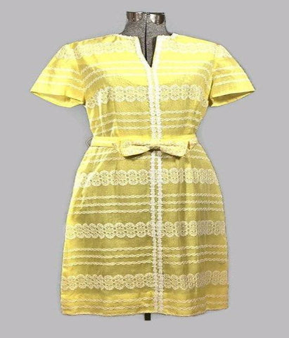 1960 Henry Lee Yellow Vintage Cotton Eyelet Dress - ROBINS HERITAGE USA Vintage
